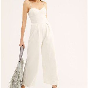 Free People Ava White Textured Jumpsuit